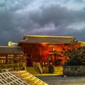夕陽を浴びる首里城