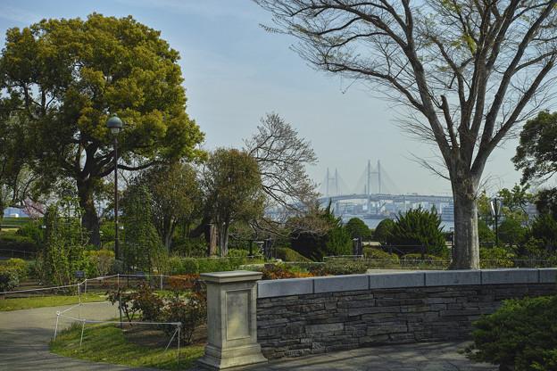 ベイブリッジの向こうに鶴見つばさ橋が