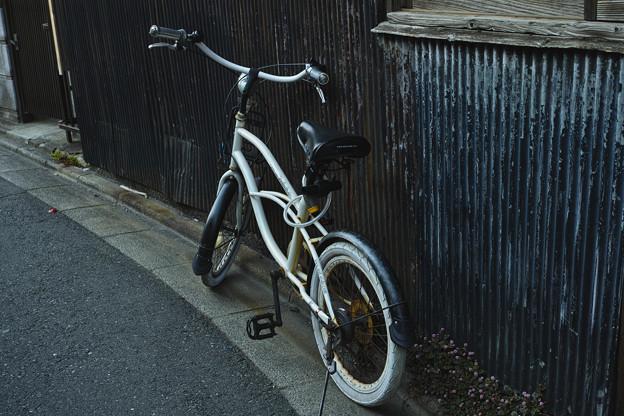 トタンの壁と白い自転車