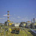 まっすぐ伸びた線路と蛇行する線路@JR八王子駅