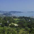 写真: 岡山県牛窓のオリーブ園から瀬戸内海を臨む