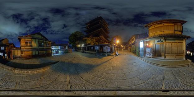 Photos: 360度パノラマ写真 京都 八坂の塔(法観寺五重塔) 夜景 HDR