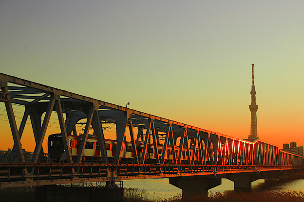 夕暮れ鉄橋