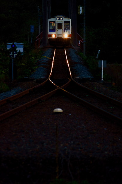 日が暮れるのも早くなり 三陸鉄道