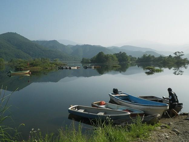 秋元湖のボート