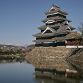 堀越しに見る松本城