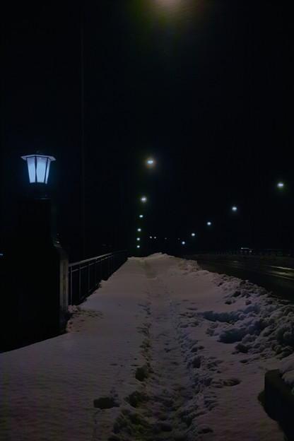 大雪の渡利大橋