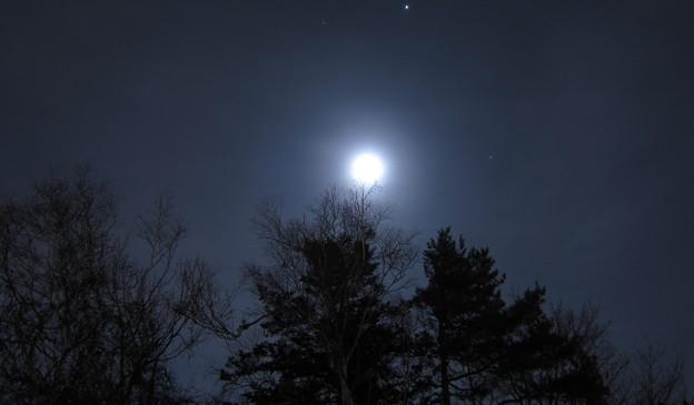 薄曇りの月