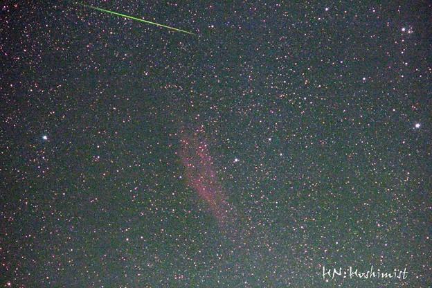 カリフォルニア星雲とペルセ群流星(IMG_9715)