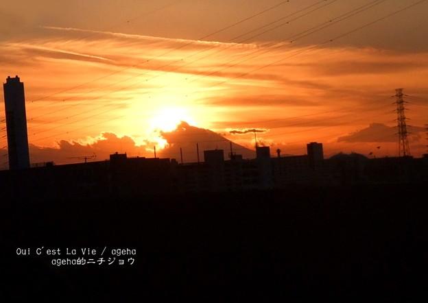 夕方富士。(2014年1月2日)