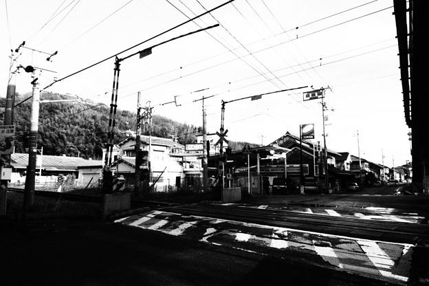 竹原 踏切白黒撮影