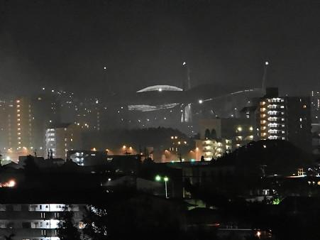 花火終了後の豊田市街と豊田スタジアム