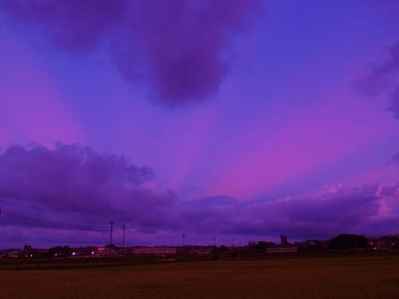 夕暮れの東空には裏後光(反薄明光線)