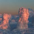 夕陽で染まる樹氷