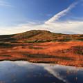 朝陽に染まる紅葉の月山