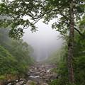 写真: 濃霧の中は巨大な滝