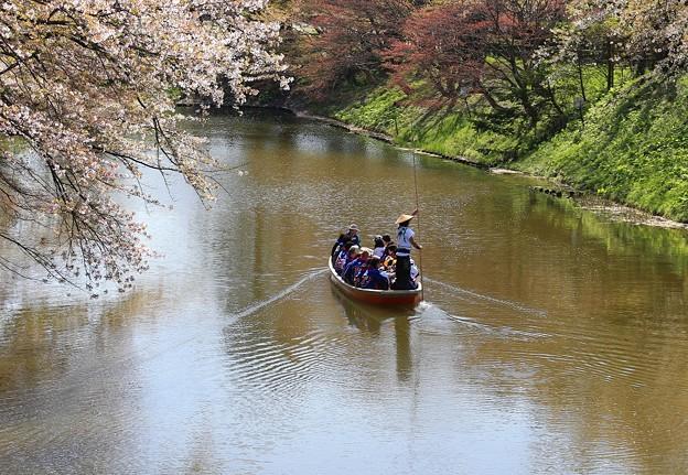写真: 和船でお濠めぐり