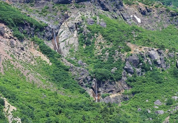 写真: 岩壁を流れる振子滝