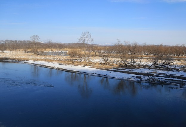写真: 湿原流れる釧路川