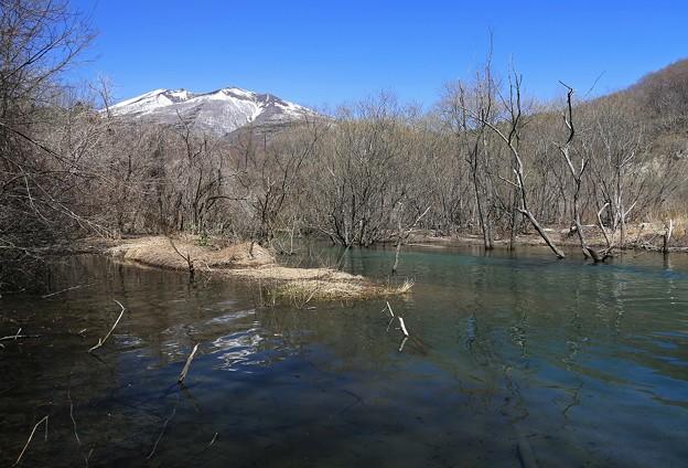 写真: 雪融け増水の横川