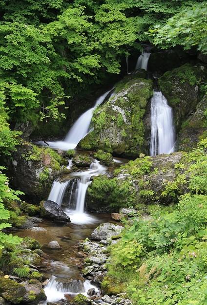 写真: 北海道の夫婦滝