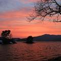 夕焼けの桧原湖