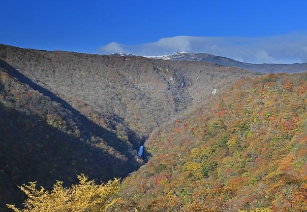 紅葉と雪と滝の壮観