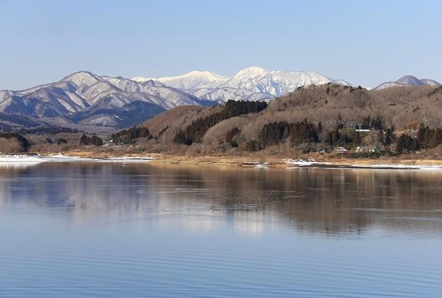 釜房湖と神室岳