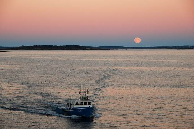 A Lobster Boat and Harvest Moon 9-19-13