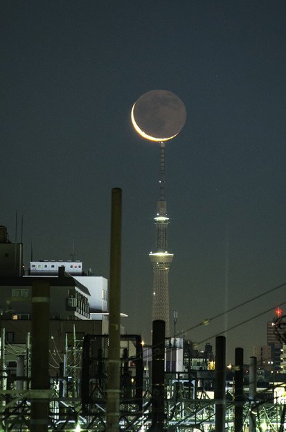 写真: 早朝の月とスカイツリー