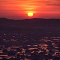 写真: 夕日色に染まる散居村