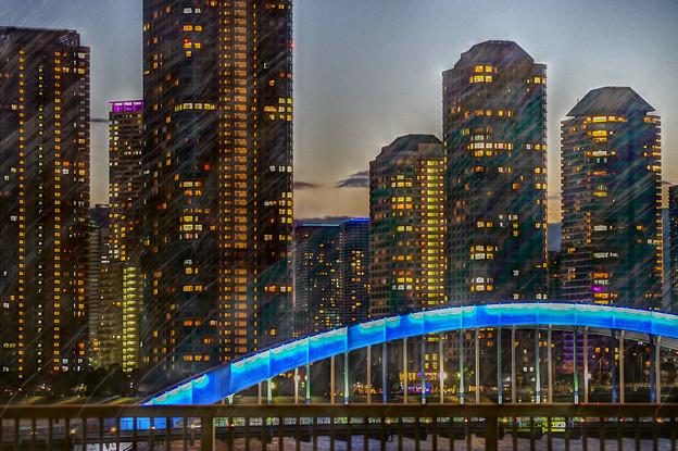 永代橋と月島の高層マンション群
