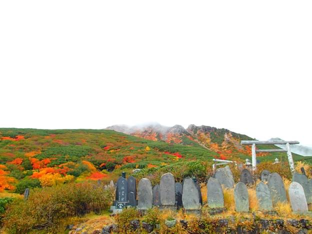 紅葉の木曽御嶽山8合目過ぎ