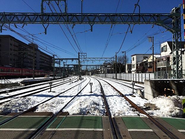 140216 雪の京急踏みきり