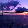 Photos: 明石海峡夕景 カメラマンの後姿
