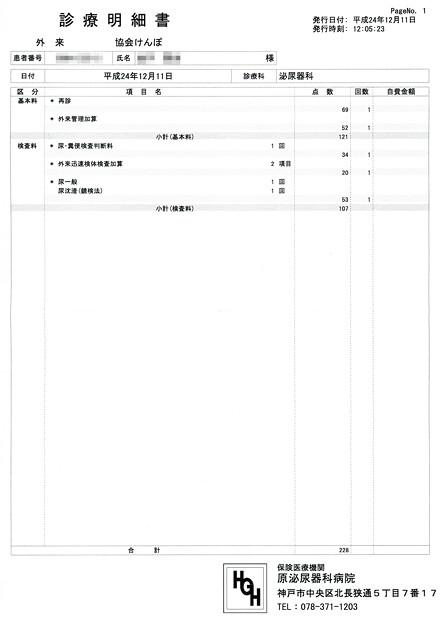 Photos: 原泌尿器科受診結果1