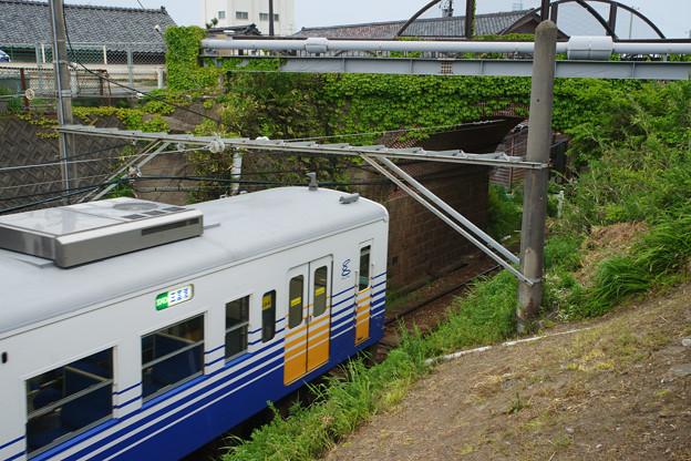 眼鏡橋をくぐる電車_01
