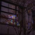 窓に映るルミナリエ_01