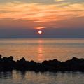 明神岬 播磨灘に沈む夕陽
