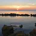 明神岬 夕暮れの渚