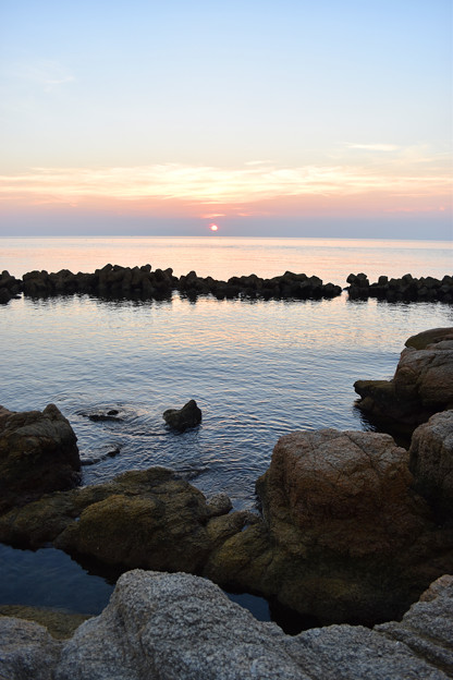 明神岬の夕暮れ