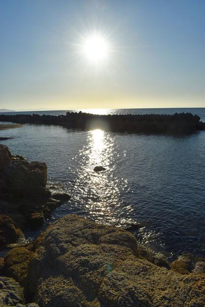 明神岬の夕陽