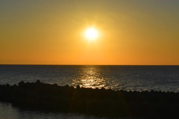 西海岸の夕陽