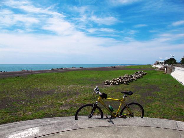 写真: 大浜海岸から西を望む