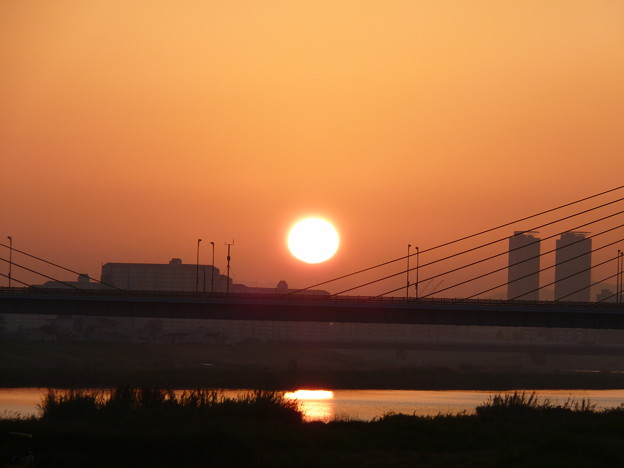 赤川仮橋から見る日の出