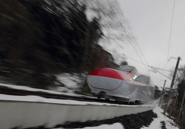 Photos: 雪の中を疾走するスーパーこまち