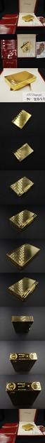開閉音動画あり 人気柄 デュポン ギャッツビー イエローゴールド 金色  ダイヤカット 18260 ライター