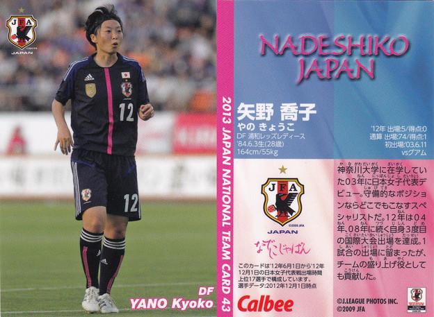 日本代表チップス2013No.043矢野喬子(浦和レッズレディース)