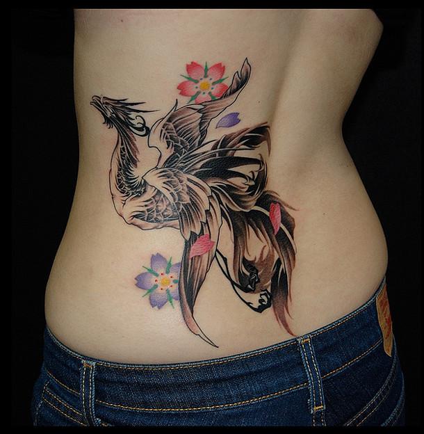 タトゥー/大阪/刺青/鳳凰デザイン/タトゥー画像,鳳凰,桜,女性刺青画像