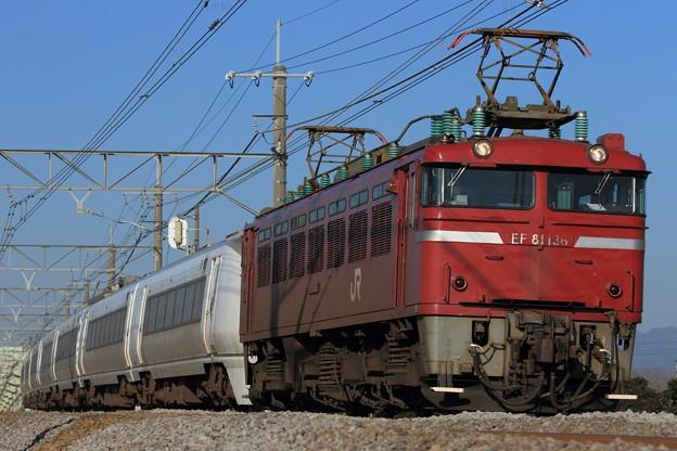 Photos: 配9724レ EF81 136+651系水カツK101編成 7両
